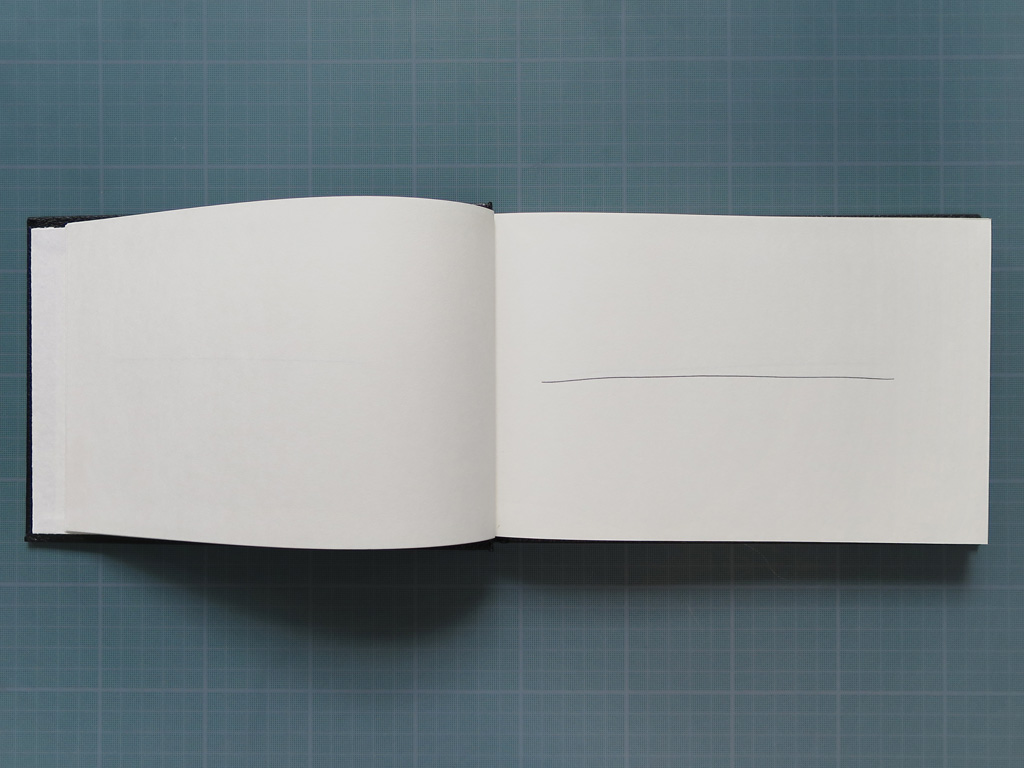 Claude Closky, '100 grands traits [100 long lines]', 1993, black ballpoint pen on sketch pad, 200 pages, 14 x 25 cm.